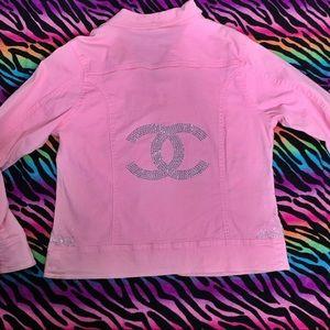 Pink blazer jacket with rhinestone details